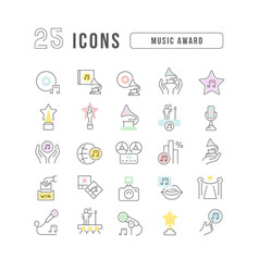 line icons music award vector image