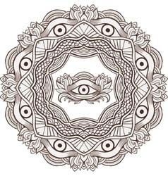 Mandala henna mehendi with the eye of providence vector image
