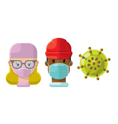 medical professionals and a virus icon set 2 vector image