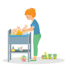 Mom changes a diaper to a newborn vector