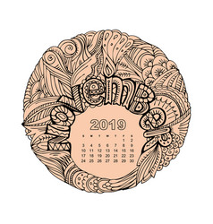 new year calendar grid with lettering november in vector image