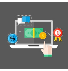Online Payment Flat Icon over Grey vector