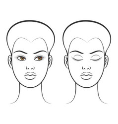 open and closed eyes female face vector image