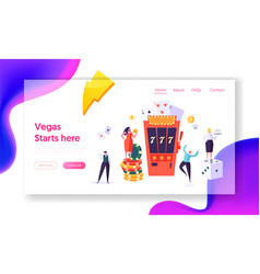 people character over casino slot machine win vector image