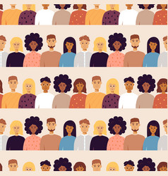 People portraits seamless pattern vector