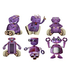 Purple robots in six designs vector