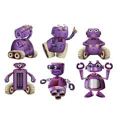Purple robots in six designs vector image