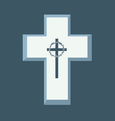 Religious banner with cross and crown of thorns vector