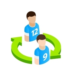 Replacement players in football isometric 3d icon vector image