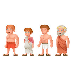Roman greek old young strong fat toga loincloth vector