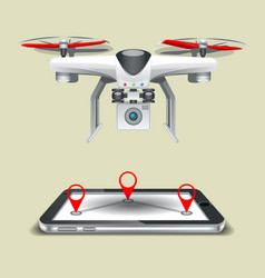 route for drones on cellphone vector image
