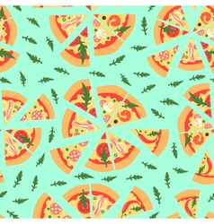 Seamless pattern with assorted pizza slices vector image