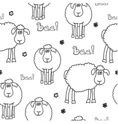Seamless pattern with fun cartoon sheep vector