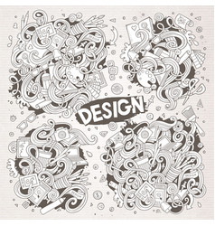 set doodle design theme items vector image