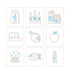 Set of food icons and concepts in mono thin line vector