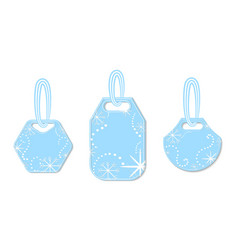 set of tags decorated with snowflakes and chaplets vector image
