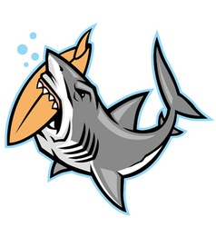 Shark bite a surfboard vector