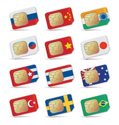 sim cards with flags vector image