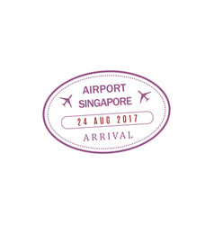 Singapore airport stamp isolated icon vector