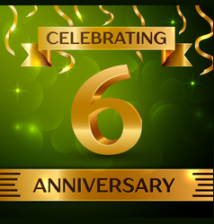 Six years anniversary celebration design vector