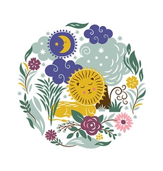 Sleeper Lion with a entourage of trees and flowers vector image