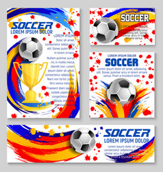 soccer ball with football winner cup banner design vector image