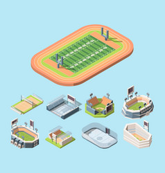 Sports fields and stadiums isometric vector