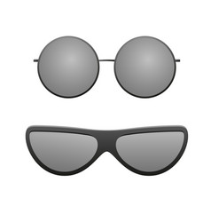 sunglasses icons set black round silhouette sun vector image