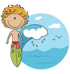 Surfer boy on surfboard vector