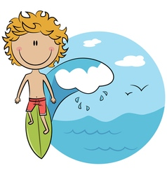 Surfer boy on the surfboard vector