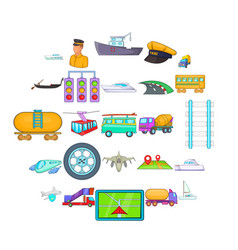 traction icons set cartoon style vector image