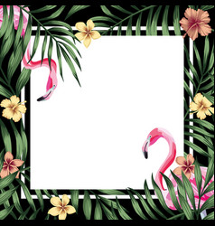 Tropical frame flamingo hibiscus leaves black vector