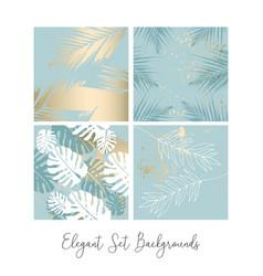 Tropical worn floral pastel blue blush gold vector