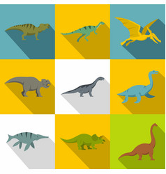 types of dinosaur icon set flat style vector image