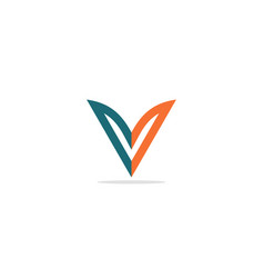 v initial colored company logo vector image