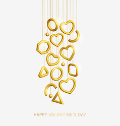 valentines day background decorated 3d gold hearts vector image