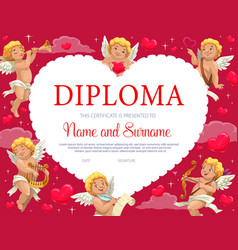 Valentines day certificate diploma with cupids vector