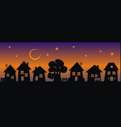 Village at night decorative vector