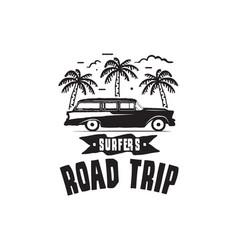 Vintage surf logo print design for t-shirt and vector
