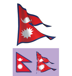 Waving flag of nepal vector