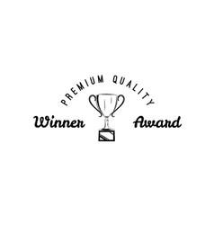 winner retro emblem winner cup vector image