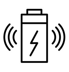 Wireless battery charging icon outline style vector