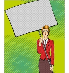 woman holding blank white vector image