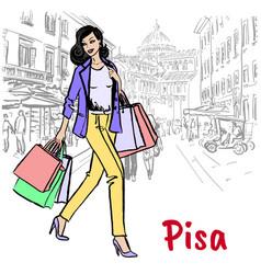 Woman in pisa vector