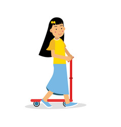 Cute brunette girl riding a kick scooter cartoon vector