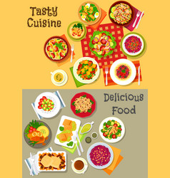 fresh salad with vegetable fish and meat icon set vector image vector image