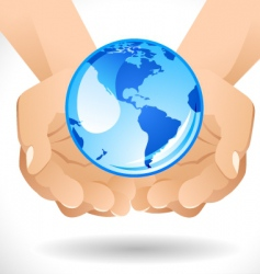 Hands with globe vector