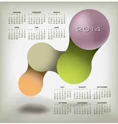 Modern 2014 Calendar upscale colors vector image vector image