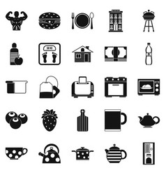 morning tea icons set simple style vector image vector image