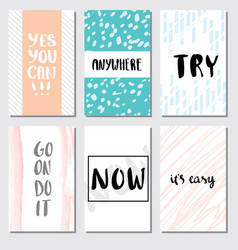 set motivation card lettering for poster vector image vector image